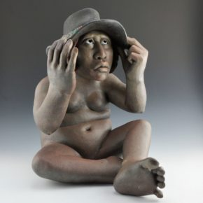 "Swentzell, Roxanne – ""Thinking Hat"" Original Clay Figure"