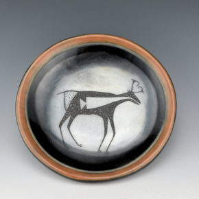 Da, Tony – Black & Sienna Plate with Antelope (1969)