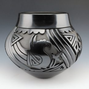 Garcia, Tammy – Large Jar with Parrots & Melon Swirls (1998)