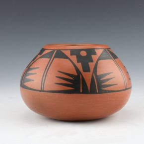 Roybal, Tonita – Black-on-Red Bowl with Cloud and Rain Designs (1920's)