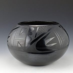 Roybal, Tonita – Large Bowl with Rain and Bird Wing Designs (1930's)