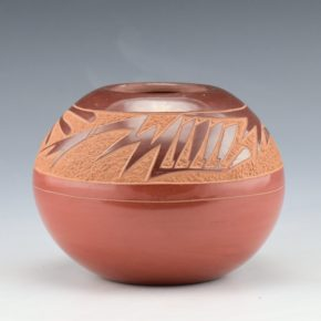 Haungooah, Art Cody -Red and Brown Bowl with Feather Pattern (1977)