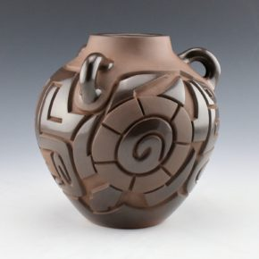 Begay, Jr., Harrison – Brown Three Handle Jar with Turtles & Stars