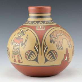Gutierrez, Margaret & Luther – Jar with Warriors and Animals (1970's)