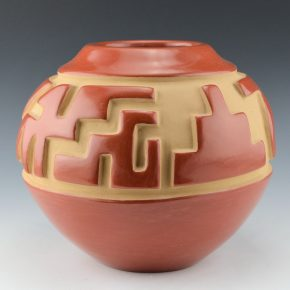 Tapia, Belen – Red Carved Jar with Mountain Designs (1970's)