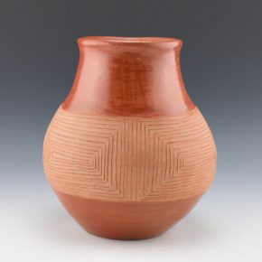 Montoya, Tomasita – Incised Red & Tan Water Jar (1960's)