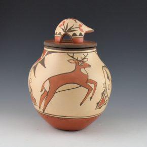 Medina, Elizabeth & Marcellus – Jar with Antelope, Deer and Lid