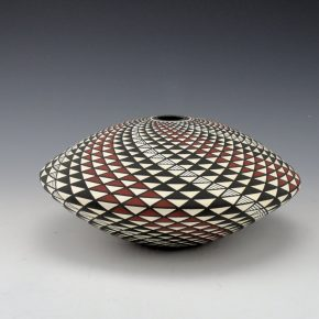 Kasero, Sr., Robert – Wide Seedpot with Red & Black Op-Art Spiral