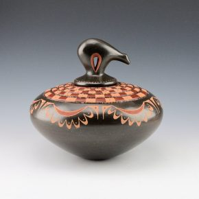 Sanchez, Russell  – Large Checkerboard Bowl with Bear Lid