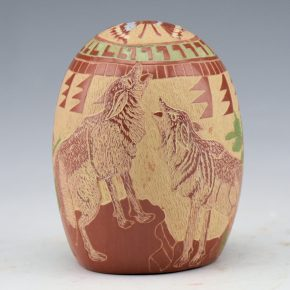 Tafoya, Camilio – Tall Seedpot with Coyote, Deer & Rabbits (1980)