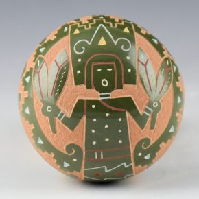 Tafoya, Emily – Green Seedpot with Corn Dancer Figure