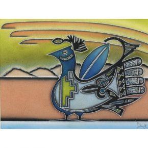 "Da, Jarrod – ""Blue Pueblo Bird"" Original Pastel"