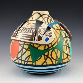 Namingha, Les – Jar with Hopi Birds & Lightning Design Panel
