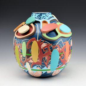 """Namingha, Les – """"Carnival"""" Carved Jar with Hopi birds"""