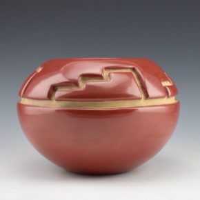 Tafoya, Margaret – Red Bowl with Mountain Design (1980's)