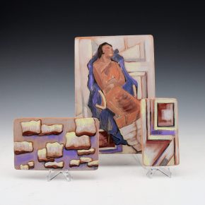 "Folwell, Susan – ""Pueblo Woman, Pueblo Clouds"" 3 Tile Set"