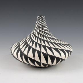 Torivio, Dorothy – Wide Long Neck Jar with Mountain Spiral Design