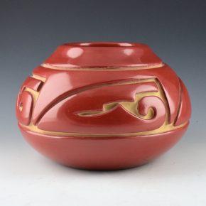 Trammel, Jennie – Wide Red Jar with Cloud Designs (1980's)