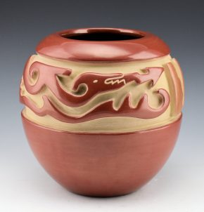Archuleta,  Mary Ester – Red and Tan Bowl with Avanyu & Feathers (1970's)