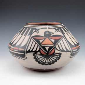 Tenorio, Robert  – Wide Jar with Feathers & Thunderbird