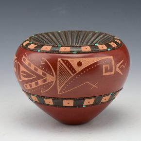 Sanchez, Russell  – Red Bowl with Indented Melon Rib Neck and Bird Designs