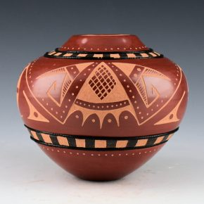 Sanchez, Russell  – Red Storage Jar with Moth and Seed Design