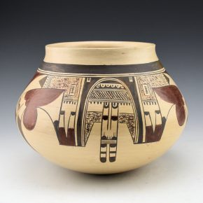 Quotskuyva, Dextra – Jar with Katsina Mask & Spider Designs (1970's)