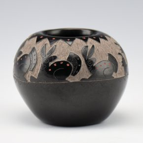 "Garcia, Gloria ""Golden Rod"" – Bowl with Rabbits and Quail"