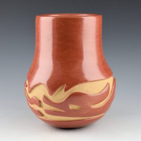 Cain, Mary – Red Long Neck Jar with Avanyu (1980's)