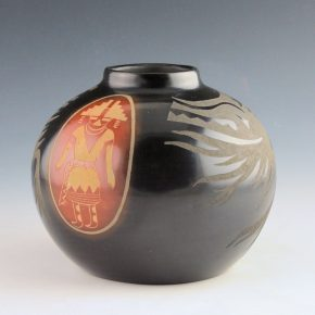 Medicine Flower, Grace & Camillio Tafoya – Red & Black Jar with Figures & Avanyu (1970's)