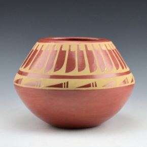 Gutierrez, Helen – Red Bowl with Feather Design (1986)