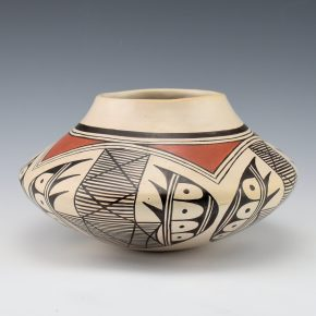 "Naha, Helen ""Feather Woman – Wide Jar with Bat Wing Design (1970's)"