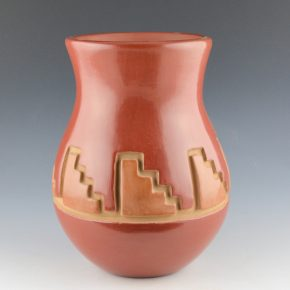 Archuleta,  Mary Ester – Red & Tan Jar with Kiva Step Design