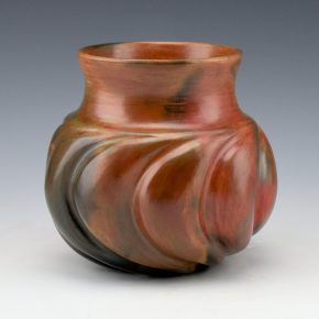 Manymules, Samuel  – Small Jar with Rounded Swirl Melon Ribs