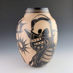 "Ortiz, Virgil – ""Castilians, Pueblo Revolt 1680/2180"" Water Jar"