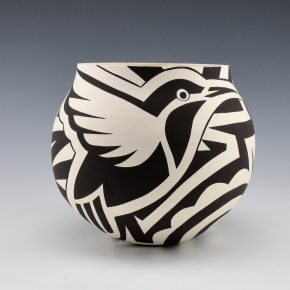 Lewis, Eric – Jar with Hummingbird and Bird Wing Designs