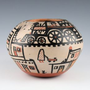 Tenorio, Robert  – Bowl with Train and Pueblo