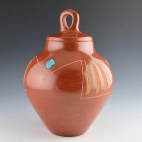 Da, Tony – Lidded Jar with Feather Design and Turquoise (1971)