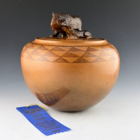 McHorse, Christine -Lidded Bowl with Buffalo & Wolf (1993)