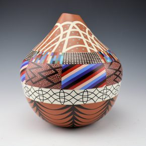 "Namingha, Les – ""Striped Pueblo Jar #1"" Jar"