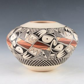 Naha, Rainy – Jar with 12  Interlocking Birds and Checkerboard Band
