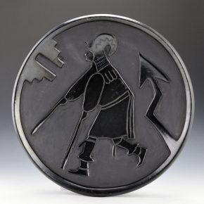 Aguilar, Rosalie & Joe – Carved Plate with Ram Dancer (1930's)