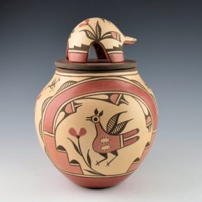 Medina, Elizabeth – Lidded Jar with Rainbow Band and Hummingbirds