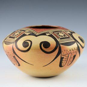 Nampeyo, Elva Tewaguna – Bowl with Eagle Tail Design (1971, Fred Harvey Tag)