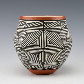 Davis, Titus – Jar with Interlocking Star Pattern and Red Rim