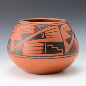 Roybal, Tonita – Black-on-Red Bowl with Storm Design (1922-5)
