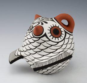Peynetsa, Jamie – White Clay Owl with Rainbird Designs