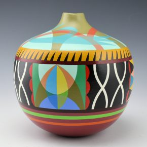 Namingha, Les – Hopi Moth and Birds Layered Design Jar