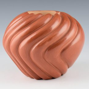 Toya, Dominique – Red Bowl with Melon Swirl Design