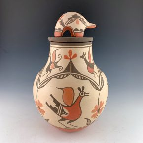 Medina, Elizabeth – Lidded Jar with Nine Zia Birds